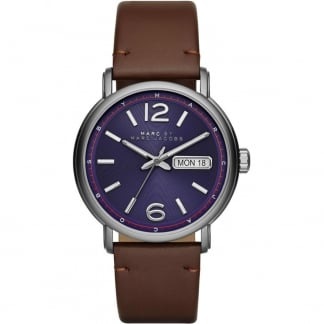Men's Brown Leather and Purple Dial Fergus Watch MBM5078