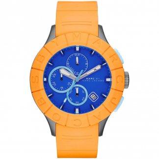 Men's Buzz Track Orange & Blue Chronograph Watch MBM5545
