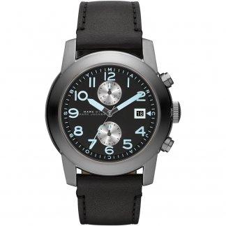 Men's Black Leather Strap Larry Chronograph Watch MBM5054