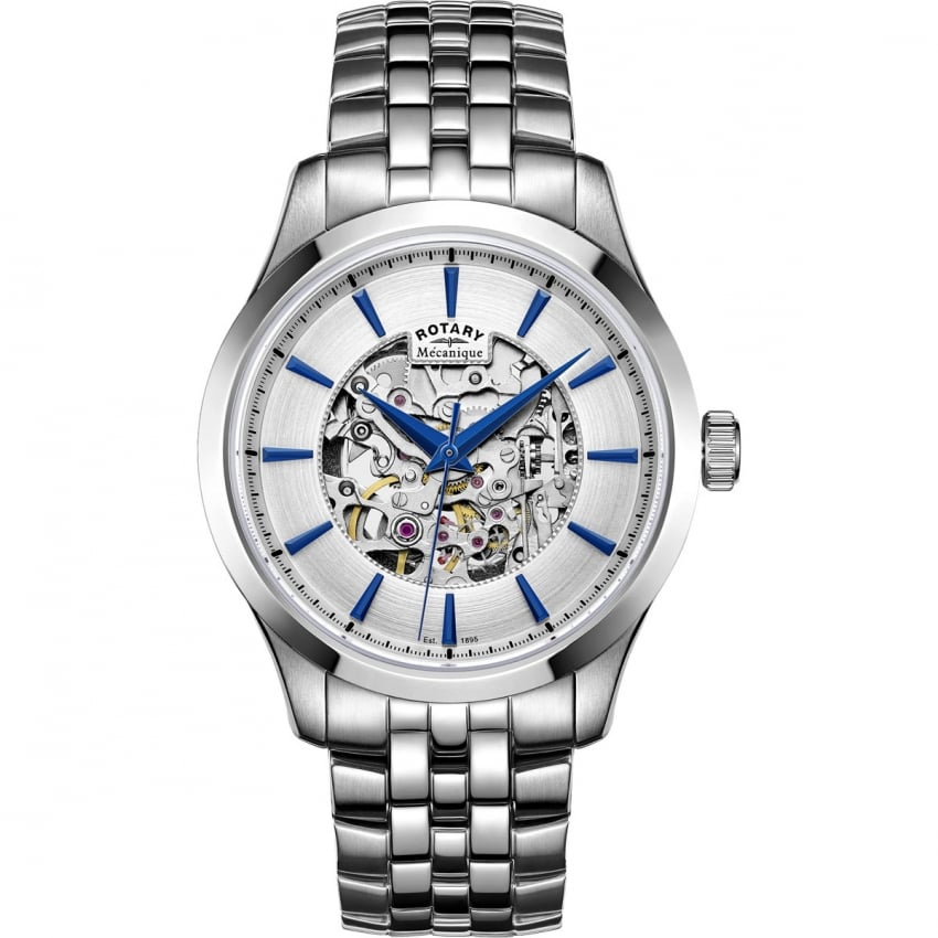 Rotary Men's Mecanique Steel Automatic Skeleton Watch GB05032/06
