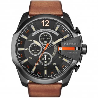 Men's Mega Chief Brown Leather Chronograph Watch DZ4343