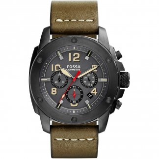 Men's Modern Machine Olive Leather Chronograph Watch