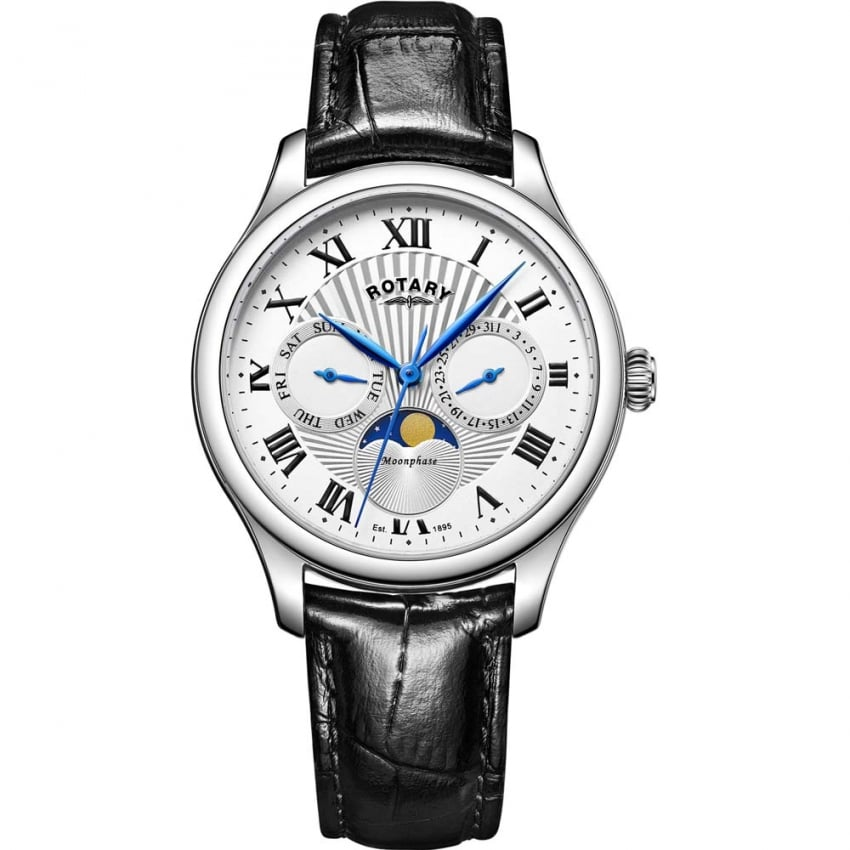 Rotary Men's Moonphase Black Leather Day/Date Watch GS05065/01