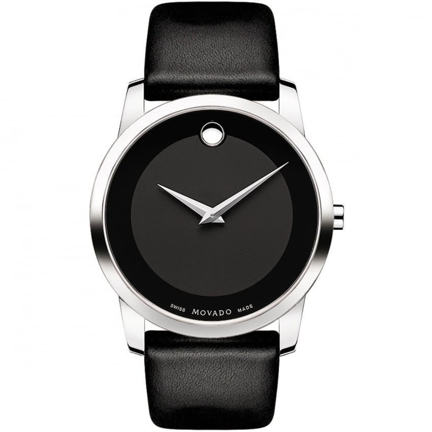 Movado Men's Museum Black Leather Strap Watch 0606502