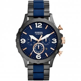 Men's Nate Blue Silicone & Black PVD Chronograph Watch