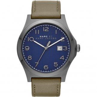 Men's Navy Blue Dial Leather Strap Jimmy Designer Watch MBM5046