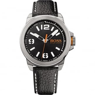Men's New York Black Leather Strap Watch with Black Dial