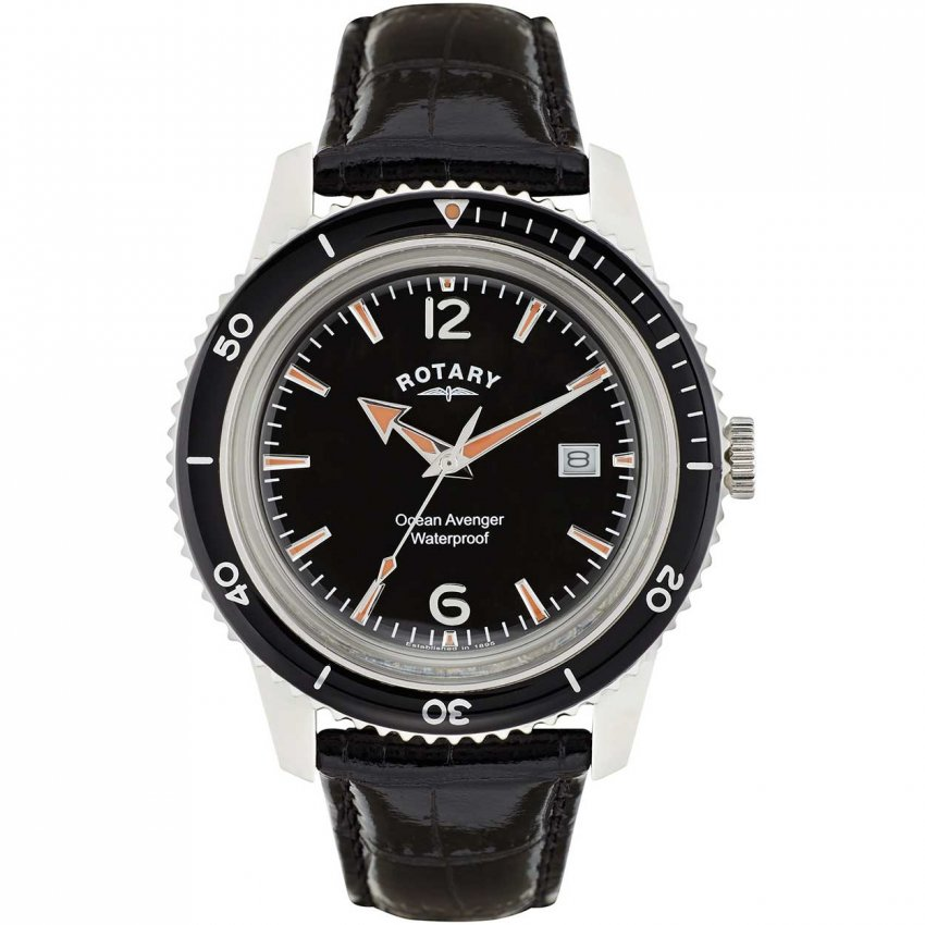 Rotary Men's Ocean Avenger Black Leather Watch GS02694/04