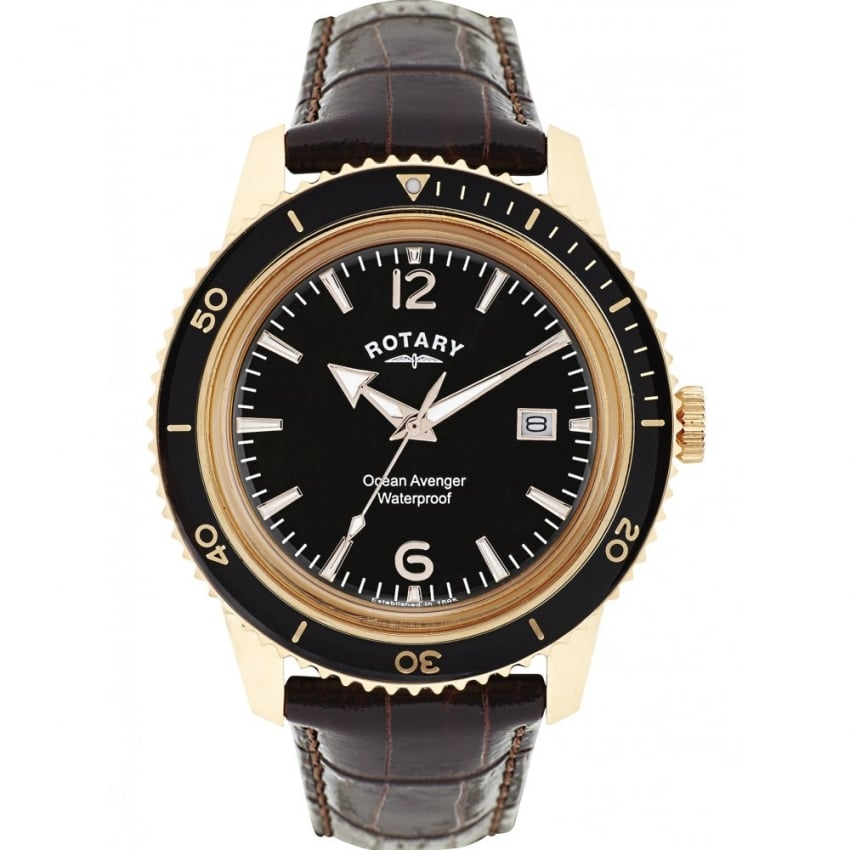 Rotary Men's Ocean Avenger Brown Leather Gold Plated Watch GS02696/04