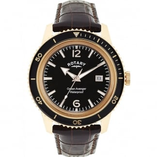 Men's Ocean Avenger Brown Leather Gold Plated Watch