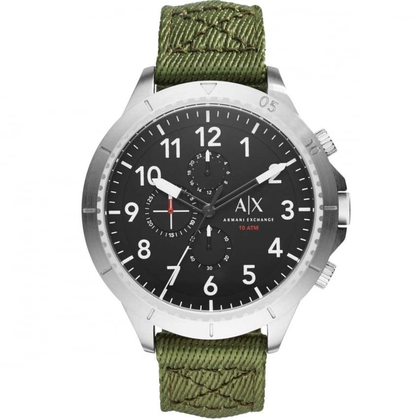 Armani Exchange Men's Oversized Green Canvas Chronograph Watch AX1759