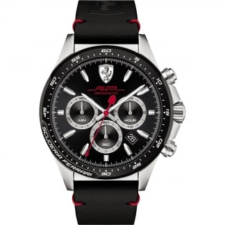 Men's Pilota Leather Strap Chronograph Watch