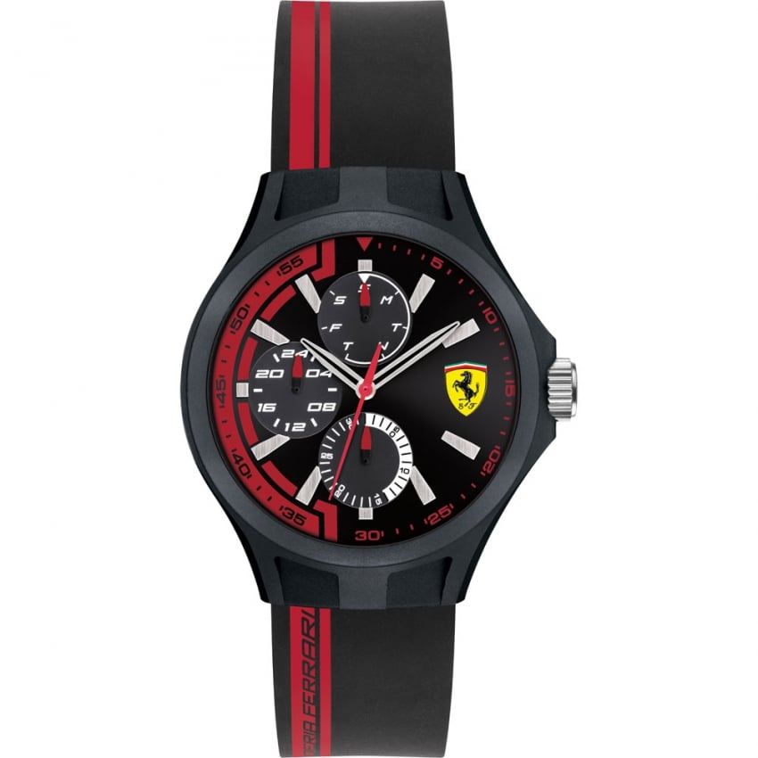 Scuderia Ferrari Men's Pit Crew Black/Red Multifunction Watch 0840013