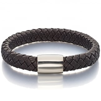 Men's Plaited Leather Brook Bracelet