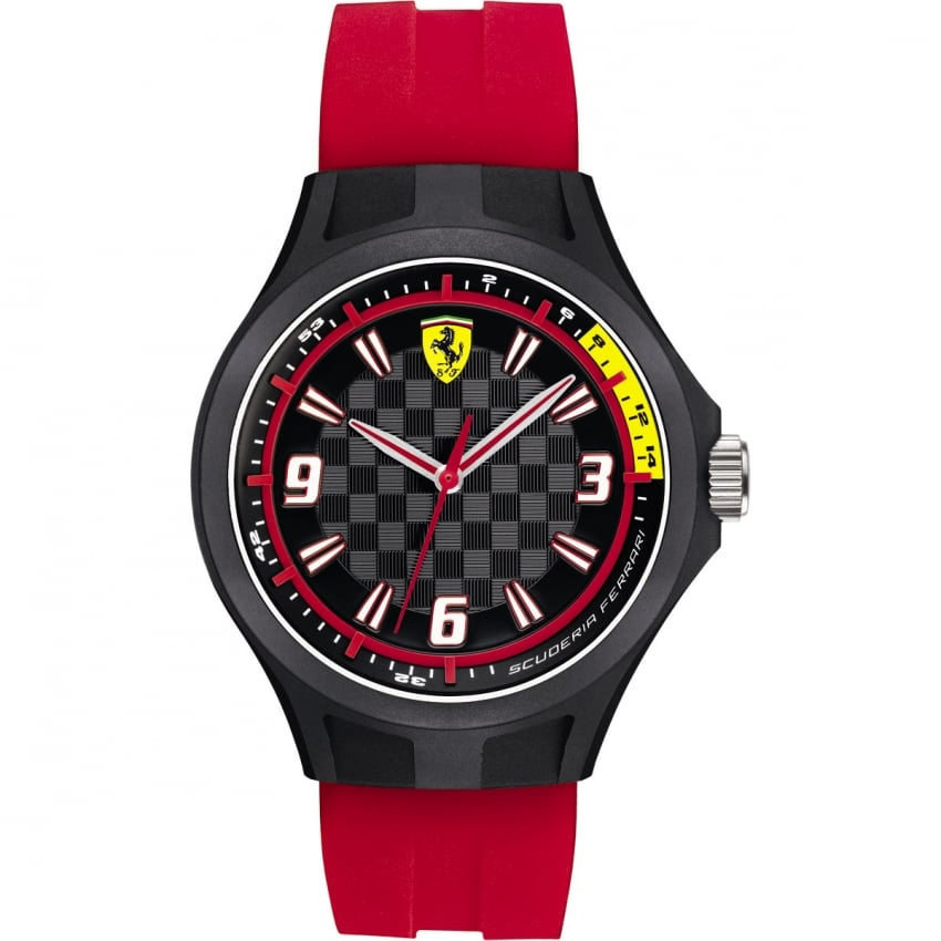 Scuderia Ferrari Men's Red Silicone Strap Pit Crew Watch 0830282