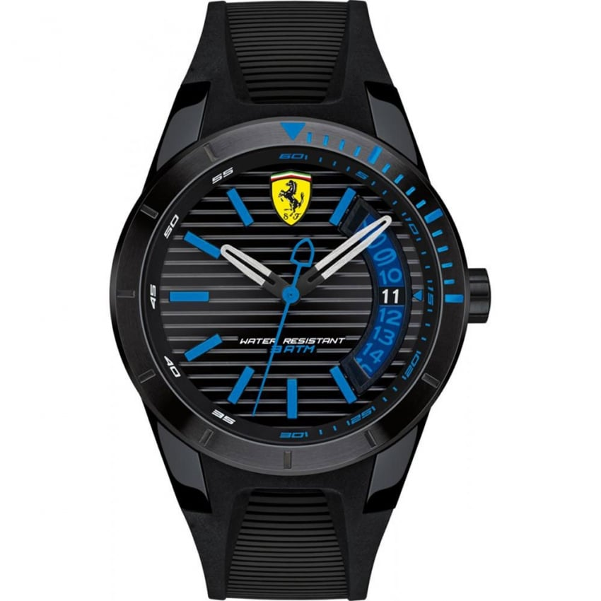 Scuderia Ferrari Men's RedRev Black Silicone Strap Watch 0830427