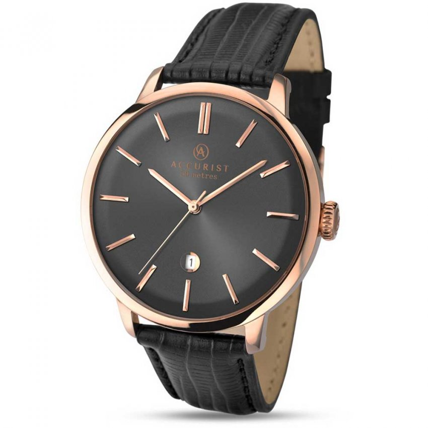 Accurist Men's Rose Gold Plated Vintage Strap Watch 7013