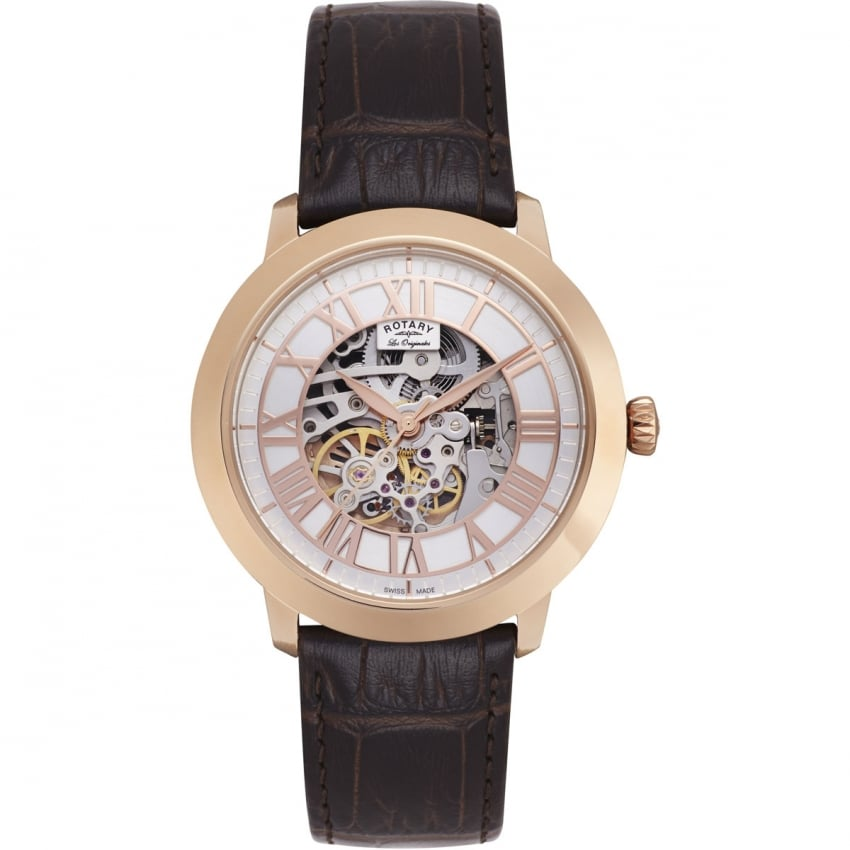 Rotary Men's Rose Gold Automatic Jura Skeleton Watch GS90532/06