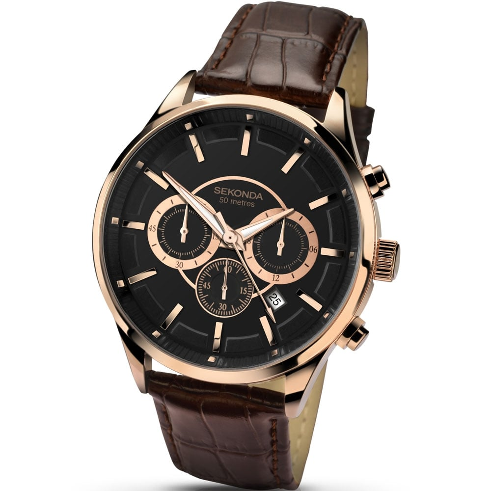 Men\'s Rose Gold Brown Leather Chronograph Watch - Watches from ...