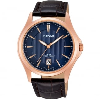 Men's Rose Gold Brown Leather Strap Watch