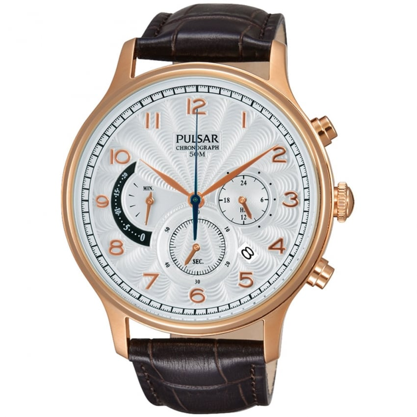 Men's Rose Gold Brown Strap Chronograph Watch PU6010X1