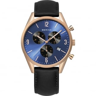 Men's Rose Gold Classic Black Leather Chronograph Watch