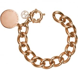 Men's Rose Gold Large Link Disc Bracelet