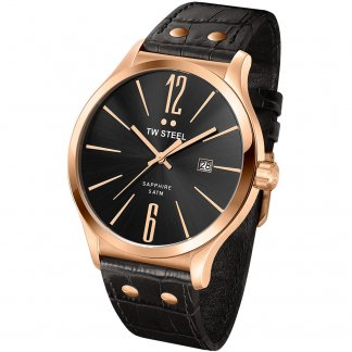 Men's Rose Gold Tone 45MM Slimline Leather Strap Watch