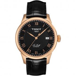Men's Rose Gold Le Locle Black Strap Watch T41.5.423.53