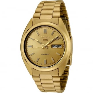 Men's 'Seiko 5' Gold Tone Automatic Day/Date Watch SNXS80K