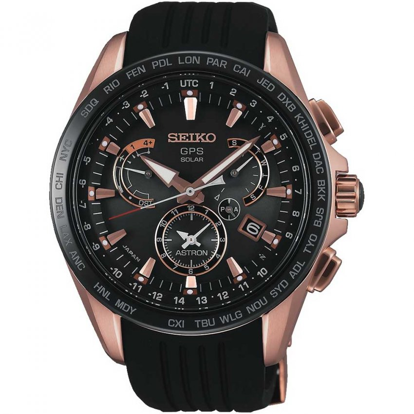 Seiko Astron Men's Rose PVD Dual Time Solar GPS Watch SSE055J1