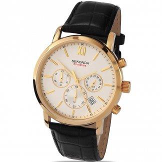 Men's Black Leather Chronograph Watch 3405