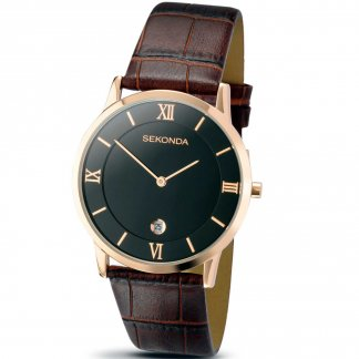Men's Rose Gold Plated Brown Strap Watch 3207
