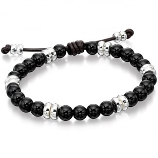Men's Silver and Black Onyx Adjustable Bracelet