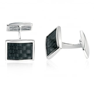 Men's Silver and Carbon Fibre Cufflinks