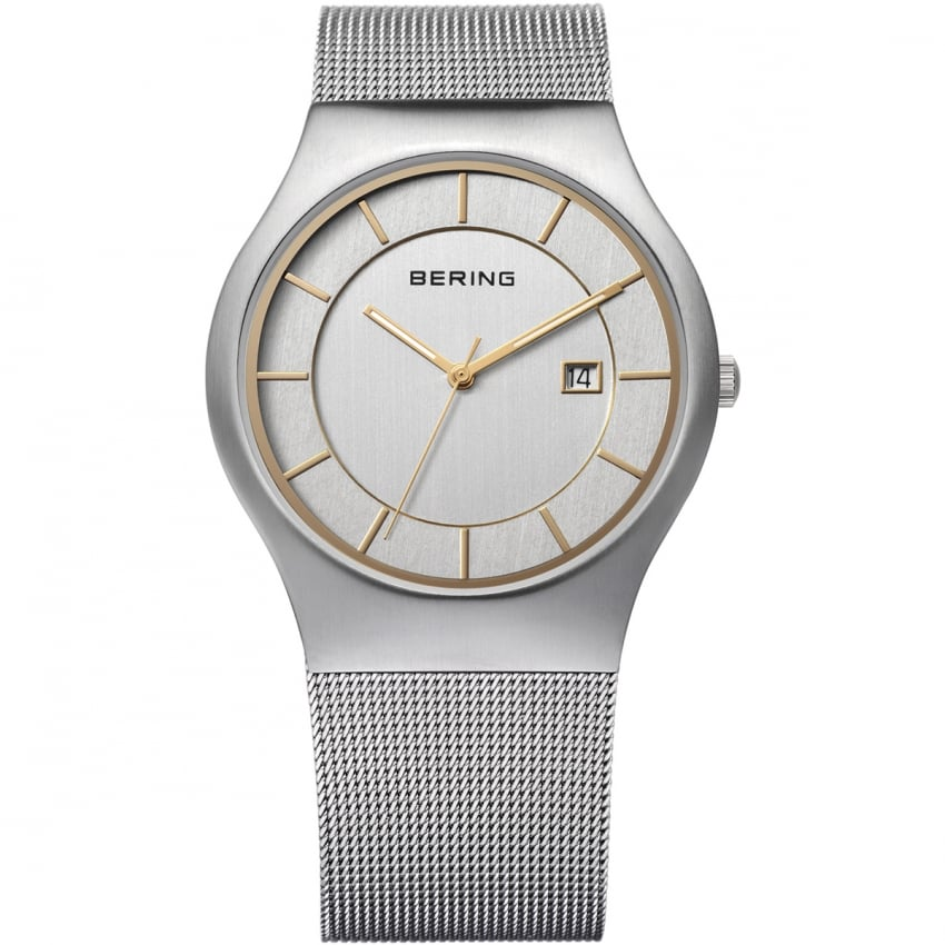Bering Men's Silver Mesh Classic Quartz Watch 11938-001