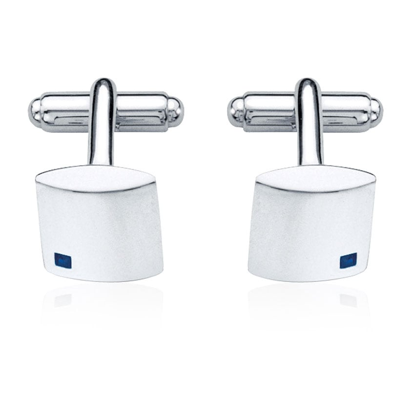 Fred Bennett Men's Silver Square Cufflinks with Sapphire Stones V210L