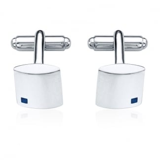 Men's Silver Square Cufflinks with Sapphire Stones