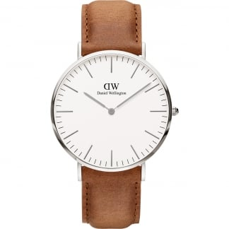 Men's Silver Tan Strap 40mm Classic Durham Watch