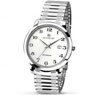 Men's Silver Tone Expander Watch