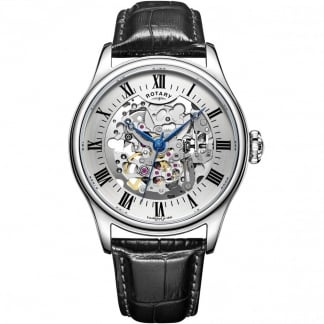 Men's Skeleton Black Leather Mechanical Watch