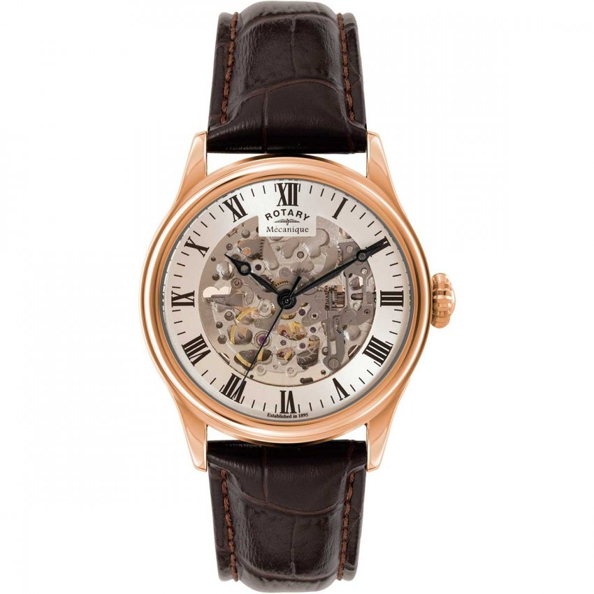 Rotary Men's Skeleton Rose Gold Brown Leather Mechanical Watch GS02942/01