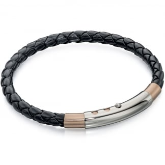 Men's Slim Black Leather Bracelet with Rose Gold Detail