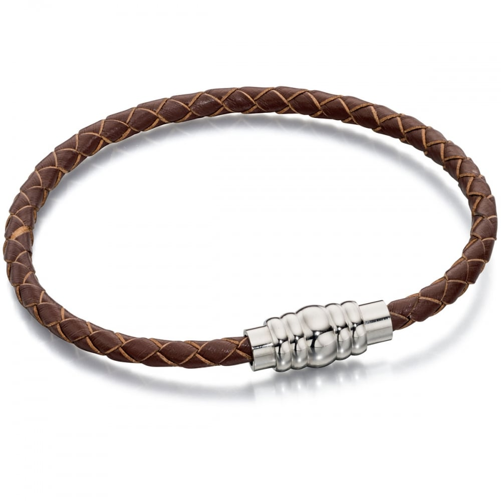 Fred Bennett Men's Slim Brown Leather Bracelet with ...