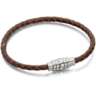 Men's Slim Brown Leather Bracelet with Magnetic Clasp