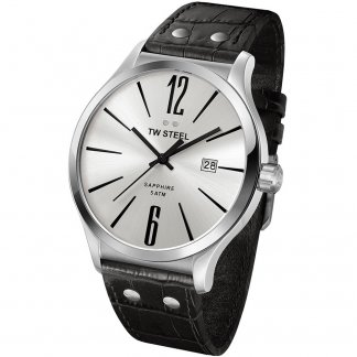 Men's Slim Line 45MM Silver Dial Watch
