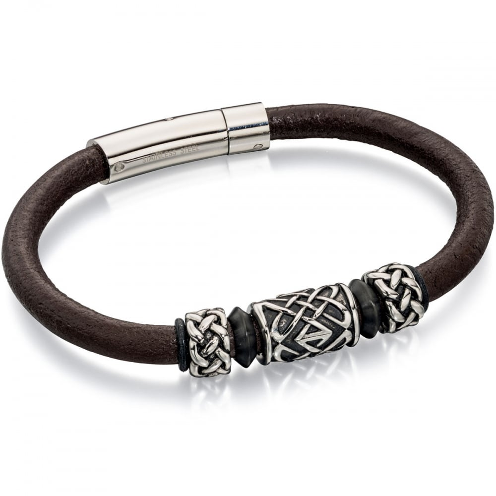 373ebdf5c00ad Fred Bennett Men's Smooth Brown Leather Bracelet with Celtic Bead Detail