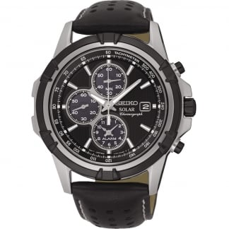 Men's Solar Black Leather Alarm Chronograph Watch