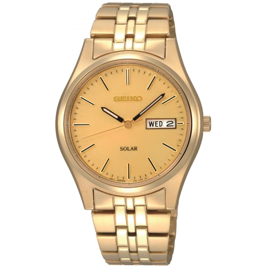 Seiko Men's Solar Gold Plated Bracelet Day/Date Watch SNE036P1