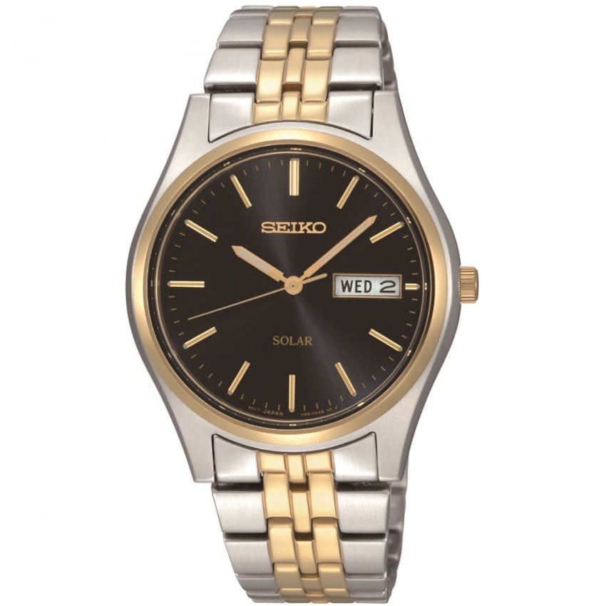 Seiko Men's Solar Powered Two Tone Day/Date Watch SNE034P1